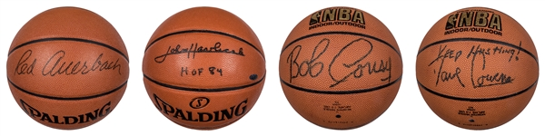 Lot of (4) Boston Celtics Hall of Famers Single Signed Basketballs- Cousy, Auerbach, Havlicek and Cowen (JSA & Steiner)