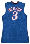 2001-02 Allen Iverson Game Used and Signed Philadelphia 76ers Alternate Road Jersey (Beckett)