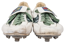 1984 Rickey Henderson Oakland As Game Used and Signed Mizuno Cleats (PSA/DNA & JT Sports)