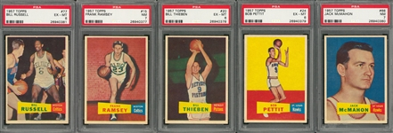1957/58 Topps Basketball Complete Set (80) Including #77 Bill Russell Rookie Card PSA EX-MT 6 Example!