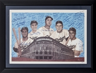 Brooklyn Dodgers Hall of Famers & Stars Multi-Signed and Framed Lithograph with 50+ Signatures (JSA)