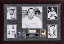 Jackie Robinson Autographed Cut in 22 x 33 Framed Photograph Collage Display (JSA)