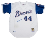 Hank Aaron Autographed Atlanta Braves Throwback Mitchell & Ness Jersey (Steiner)