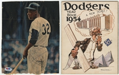 Elston Howard Autogaphed Magazine Photograph and 1954 Brooklyn Dodgers Yearbook (PSA/DNA)