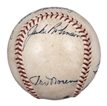 Incredible 1953 World Series(Dodgers vs Yankees) Game Used and Multi-Signed OAL Harridge Baseball With 11 Signatures Including  Robinson and Mantle (Beckett and Mears LOAs)