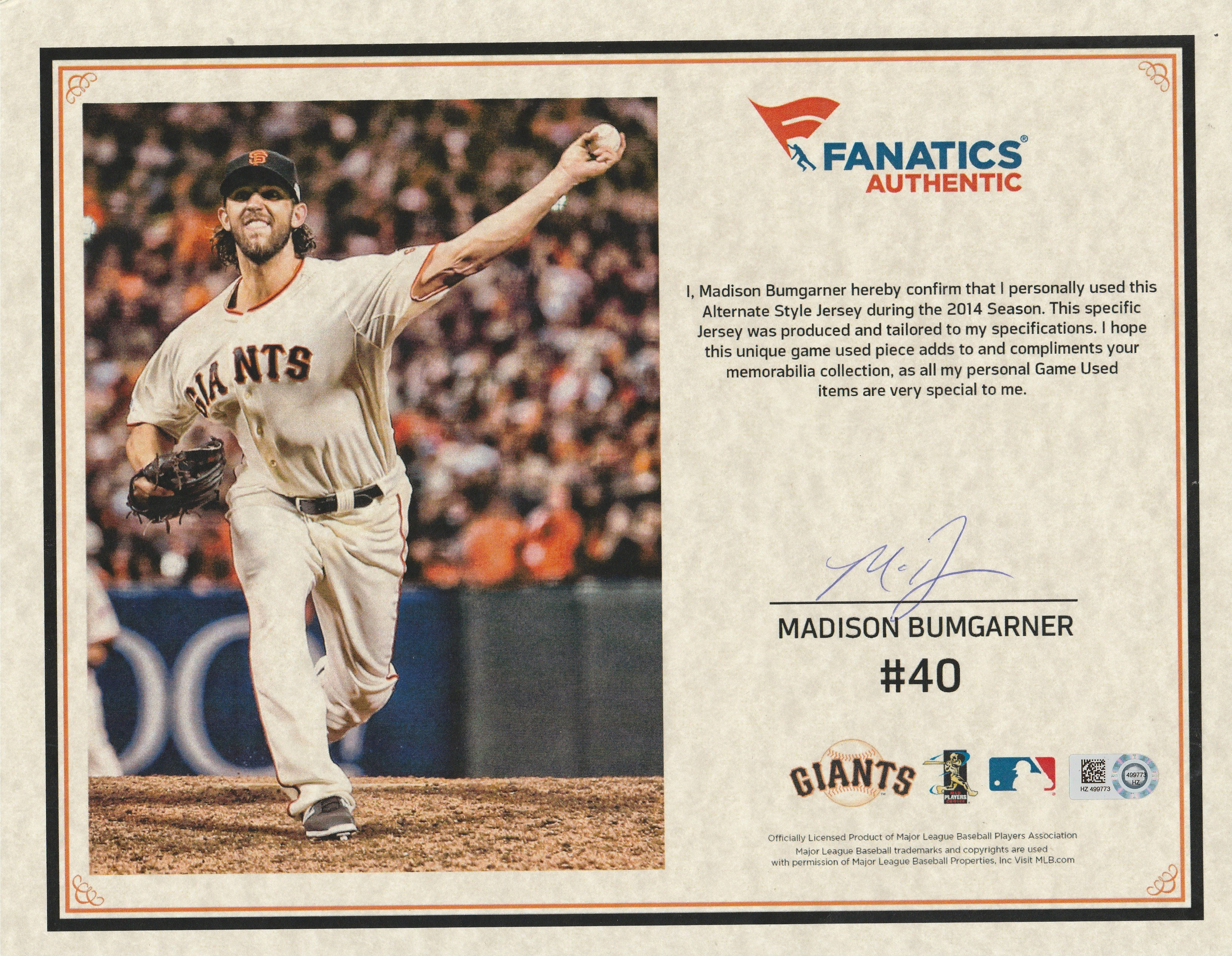 866428991 2014 Madison Bumgarner Game Used and Signed San Francisco Giants Alternate  Jersey (MLB Authenticated .