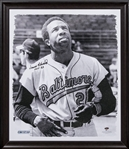 Frank Robinson Autographed and Inscribed 20x24 B&W Stretched Canvas (Steiner)