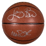 Larry Bird and Magic Johnson Dual Signed Spalding Indoor/Outdoor Basketball (Beckett)
