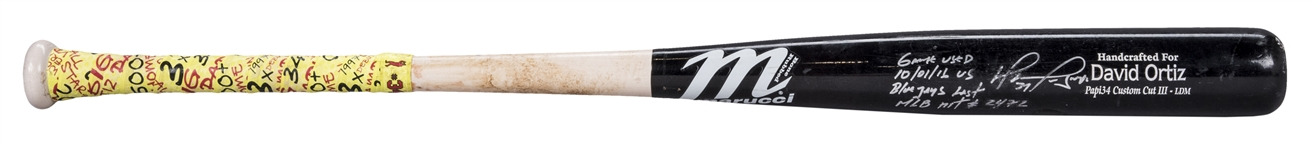 2016 David Ortiz Game Used, Signed & Inscribed Final Career Hit Bat (#2472) Used On 10/01/2016 For Hit #2472 (MLB Authenticated & Fanatics)