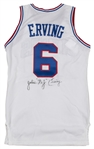 1986-87 Julius Erving Final Season Game Used and Signed Philadelphia 76ers Home Jersey (MEARS A8, 76ers LOA & Beckett)