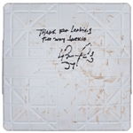 "2012 David Ortiz Game Used and Signed/Inscribed ""Thank for Leading the Way Jackie"" 2nd Base Used on 04/15/2012 - Jackie Robinson Day (MLB Authenticated)"