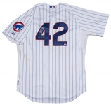 2013 Starlin Castro Game Used and Signed Chicago Cubs Commemorative #42 Jackie Robinson Home Jersey (MLB Authenticated & Beckett)