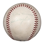 Historic and Significant 1956 ONL Giles Game Used Baseball From Jackie Robinsons Final Game Signed By Don Larsen, Sal Maglie and Umpire Larry Napp (Beckett)