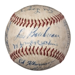 Notable 1947 Cleveland Indians Team Signed OAL Harridge Baseball With 21 Signatures Including Larry Doby (JSA)