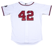 2007 Andruw Jones Game Used and Signed Atlanta Braves Commemorative #42 Jackie Robinson Day Home Jersey Worn on  04/15/2007 (MLB Authenticated & Beckett)