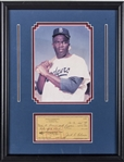 1965 Jackie Robinson Signed Freedom National Bank Check with Framed Photo Display (JSA)