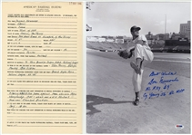 1946 Don Newcombe American Baseball Bureau Questionaire Filled Out In Newcombes Own Hand Writing and Autographed 11x14 Photograph (PSA/DNA & Beckett)