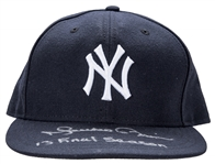 "2013 Mariano Rivera Game Used and Signed/Inscribed ""42"" New York Yankees Blue Hat (MLB Authenticated & Steiner)"