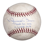 2011 Mariano Rivera Game Used and Signed/Inscribed Last Out Save Baseball (Rivera/Steiner LOA)