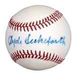 Clyde Sukeforth Signed ONL White Baseball (PSA/DNA) (Signed Jackie Robinson for Dodgers)