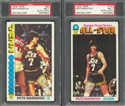 1976 Topps Pete Maravich Signed Cards Pair (2 Different) – Both PSA/DNA NM 7