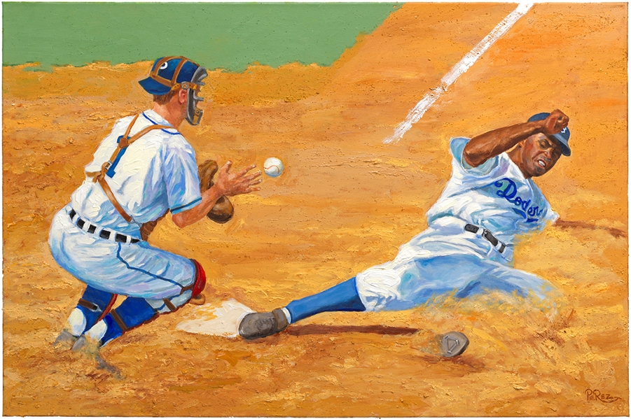 Large Jackie Robinson Stealing Home Original Painting by Dick Perez