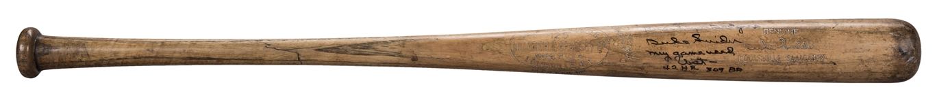 1950-60 Duke Snider Game Used And Signed Louisville Slugger C117L Model Bat (MEARS A9)