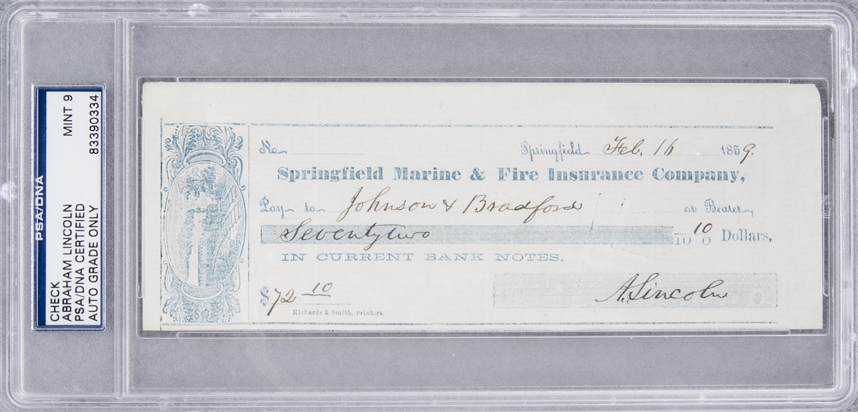 1859 Abraham Lincoln Signed Check (PSA/DNA MINT 9)