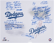 Brooklyn/LA Dodgers Multi-Signed 16x20 Print with 40+Signatures Including Snider and Garvey (PSA/DNA)
