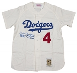 Duke Snider Signed and Stat Inscribed Mitchell & Ness Brooklyn Dodgers Flannel Jersey (PSA/DNA)
