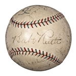 1928 New York Yankees World Series Champions Team Signed Baseball With 20 Signatures Including Ruth, Gehrig and Lazzeri - 9 Hall of Famers Total! (PSA/DNA & Beckett)