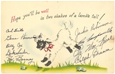 Brooklyn Dodgers Multi-Signed Baby Lamb Chop Get Well Card Signed By Robinson & Campanella (Beckett)
