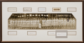 1929 Philadelphia Athletics Team Signed 7 x 30 Photograph in 19 x 37 Framed Display With 28 Signatures Including Foxx, Cochrane, Mack, Simmons and Grove (PSA/DNA & JSA)