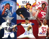 Houston Sports Legends Multi Signed 16x20 Print With Nolan Ryan, Hakeem Olajuwon, and Earl Campbell (Ryan Holo and JSA)