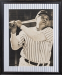 Babe Ruth Signed Photographic Poster In 19 1/2 x 25 Framed Display (PSA/DNA)