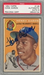 1954 Topps #128 Hank Aaron Signed Rookie Card - PSA/DNA MINT 9