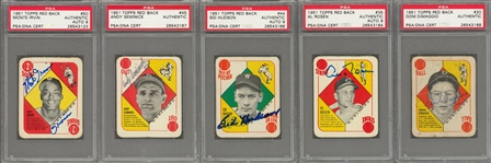 1951 Topps Red Backs Signed Cards Collection (5 Different) - All PSA/DNA Assessed