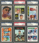 1957-1977 Topps Hall of Famers Signed Rookie Cards Collection (6 Different) - All PSA/DNA MINT 9