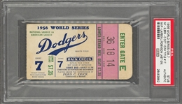 1956 Jackie Robinson Last Game World Series Game 7 Ticket- PSA/DNA Auth