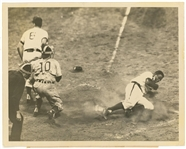 1949 Jackie Robinson Original Photograph of Robinson Stealing Home Against Chicago