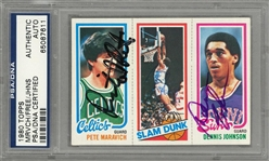 1980/81 Topps Pete Maravich/Lloyd Free/Dennis Johnson Signed Card – Signed by All Three Players! – PSA/DNA Authentic