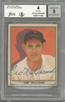 1941 Play Ball #14 Ted Williams Signed Card – BVG VG-EX 4/JSA 8