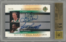 "2005/06 Upper Deck ""Ultimate Collection"" #DSLB Larry Bird/Bill Russell Dual-Signed LE Card (#23/25) – BGS GEM MINT 9.5/BGS 10"