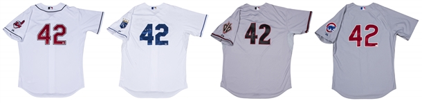 Lot of (4) Jackie Robinson Day Game Used/Signed Jerseys Including Tejeda, Brantley, Ward and Tracy (MLB Authenticated)