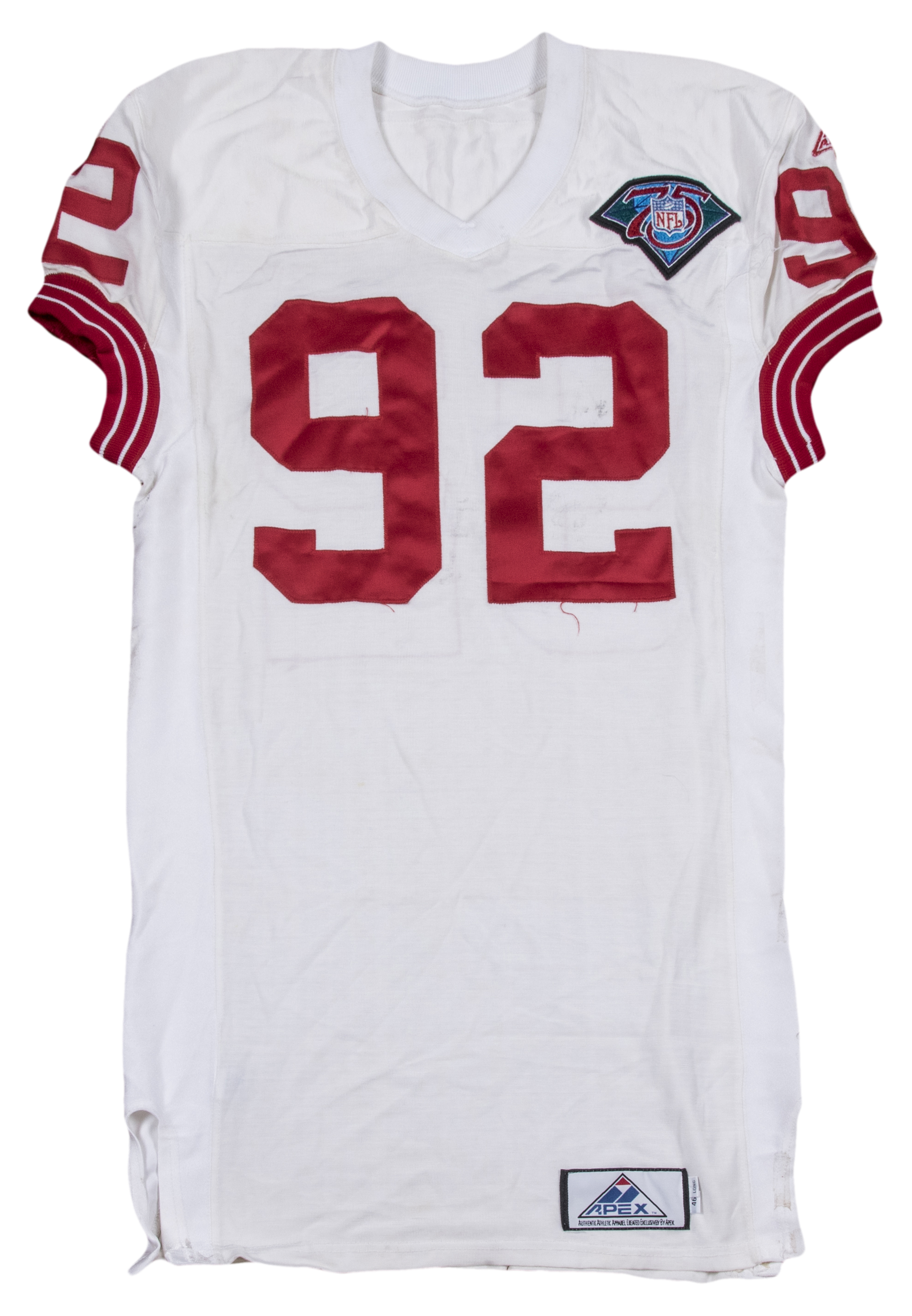 1994 Michael Strahan Game Used   Signed New York Giants Throwback Road  Jersey With NFL 75th Anniversary Patch (Strahan LOA) 3fba2a52f