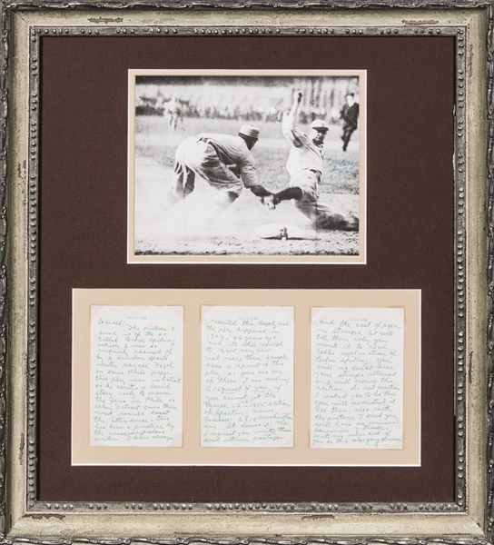 1955 Ty Cobb 3 Page Handwritten and Signed Letter With Autographed Photo re: Famous Frank Baker Spiking Incident (PSA/DNA Gem Mint 10 & JSA)