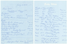 1962 Betty White Handwritten Personal Check Registry and Travel Log - 2 pages (PSA/DNA)