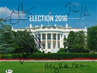 Donald Trump, Hillary Clinton, Tim Kaine and Mike Pence Multi-Signed Election 2016 11x14 White House Photo (Beckett)