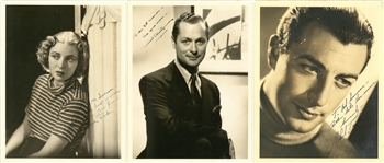 Lot of (3) Vintage Hollywood Stars Signed & Inscribed Photos: Robert Taylor, Robert Montgomery, Cecilia Parker (SGC)