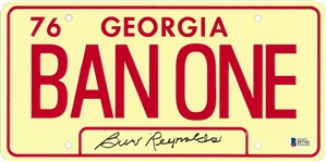 "Burt Reynolds Autographed BAN ONE Georgia ""Smokey and The Bandit"" License Plate (Beckett)"